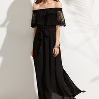 Black Off Shoulder Lace Overlap Split Maxi Dress