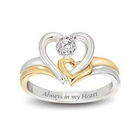 Always In My Heart Engraved Heart-Shaped Diamond Ring: Romantic Jewelry Gift For Her by The Bradford Exchange:Amazon:Jewelry