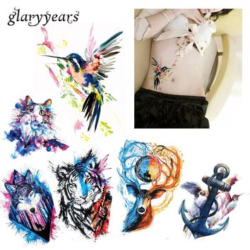 6 Pieces / Set New Body Tattoos for Back Leg Waist Watercolor Animals Colored Drawing Wolf Cat Body Art Temporary Tattoo Sticker