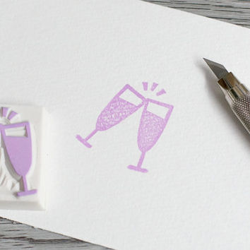 champagne stamp, wedding stamp, wedding invitation rubber stamp, event rubber stamp, celebration, champagne glass, bubbly wine stamp, cheers