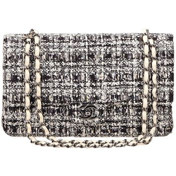 Chanel Classic Black White Grey Cotton Tweed Medium Double Flap Shoulder Bag
