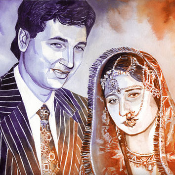 SPECIAL ANNIVERSARY gift for SIKH parents, 25th 50th wedding anniversary gift south asian indian couple custom watercolor portrait painting