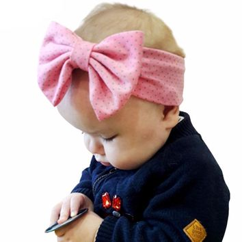 Cotton Dot Large Bow Cute Baby Girl Child Infant Toddler Head Wraps Bandana Headband