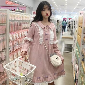 Spring summer Japanese Sweet Loose fashion girls Lace stitching blue pink dress Bow Peter pan Collar Preppy Style dress
