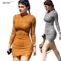 Vestidos 2016 Party Dresses Synthetic Leather Suede Sexy Club Women Winter Dress Kylie Jenner  Long Sleeve Bodycon Bandage Dress