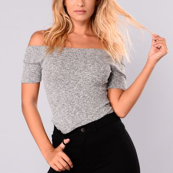 Aviva Off Shoulder Top - Heather Grey