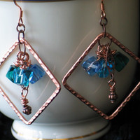 Copper and Green Agua & Turquoise Blue Crystal Chandelier Earrings Hammered Diamond Shape