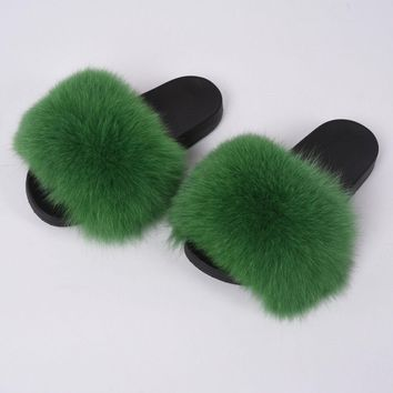 Women Fashion Slides Fluffy Fox Fur Slipper Special New Colors Flat Soft 96026