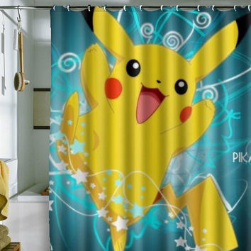 "Pokemon Pikachu shower curtain by holidayshowercurtain size 36"" x 72"", 48"" x 72"", 60"" x 72"" , 66"" x 72"""