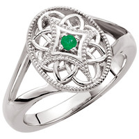 Sterling Silver 2mm Round Emerald Ring
