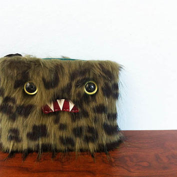 Small Green & Black Monster Pouch Two Olive by ShopGhoulieGirls