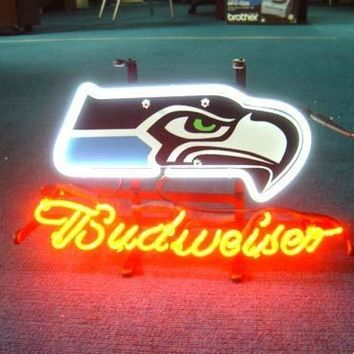 """Custom Business NEON SIGN board For  SEATTLE SEAHAWKS FOOTBALL   REAL GLASS Tube BEER BAR PUB Club Shop Light Signs 17*14"""""""
