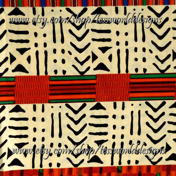 African Kente Cotton Fabric, Print, beige, orange Sold by the yard