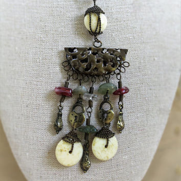 Tribal Ethnic Beaded Pendant Necklace In Brass Tone