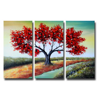 Red Tree Beauty Landscape Canvas Wall Art Oil Painting