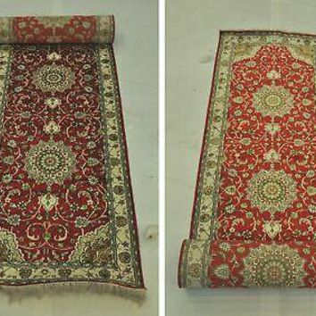 Red Hallway Runner Hand-Knotted 2.6 x 12 New Traditional expertise Rug