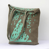 Brown Canvas Tote / Geometric Pattern / Turquoise Print / Schoolbag / Triangles Pattern / Handmade
