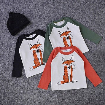 12 Month 1 2 3 4 5 Y Baby Kids Boys Toddler Spring Fox Minions Long Sleeve Casual Cotton Tops T-Shirts Clothes Outfits Cheap