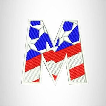 M Alphabet Letters of US Flag Iron on Small Patch for Biker Vest