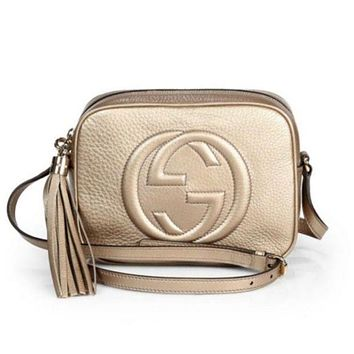 Gucci Women Leather Shoulder Bag Crossbody Satchel Golden