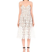 SELF-PORTRAIT - Floral-lace mid-length dress | Selfridges.com