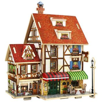 DCCKL72 3D Wood Puzzle DIY Model Kids Toy France French Style Coffee House Puzzle Wooden 3D Puzzle Toy for Children