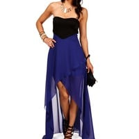 Royal Hi Lo Colorblock Dress