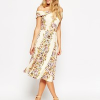 ASOS Bardot Wrap Midi Dress in Vintage Floral