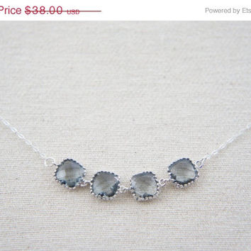 10% OFF Charcoal grey gem sterling silver necklace, wedding, gift, birthday, valentine's day