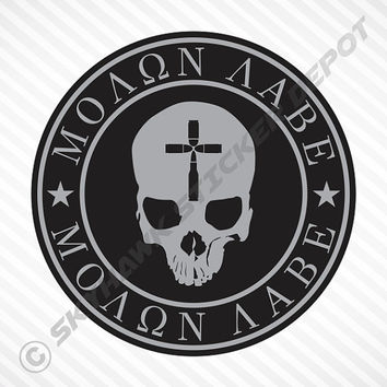 MOLON LABE Skull Bullet Cross Vinyl Decal Bumper Sticker iPad Macbook Pro Air Sticker Decal Laptop Car Truck Motorcycle Sticker Jesus  Gun