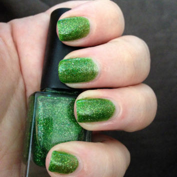"Nail Polish - ""Emerald City"" Green Jelly with silver shimmery glitter Full Size 12ml"