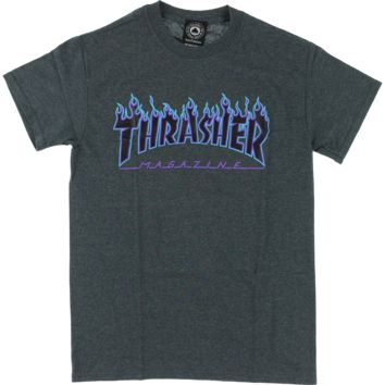 THRASHER FLAME SS DK.GREY HEATHER/BLUE