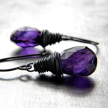 Birthstone Earrings Violet Purple Amethyst by GlitzGlitter on Etsy
