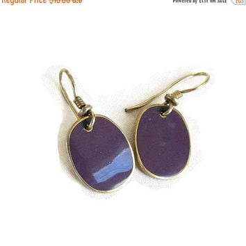 Laurel Burch Purple Enamel Earrings Vintage Dangle