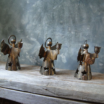 Silverplated Angel Candle Holders: Set of Three Vintage Danish Modern Angel Candle Holders Christmas