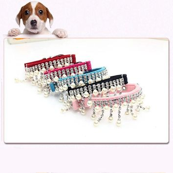 Enipate Pet Wedding Jewelry Bead Necklace Collar Velvet Crystal Pearl Necklace for Dogs Cat Punk Gothic Cool Puppy Beads Collars