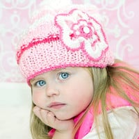 Hand knit girl hat in pink, pink girl beanie, flower girl hat, kids bobble hat, children pompom hat,  toddler pom pom cap, children beanie