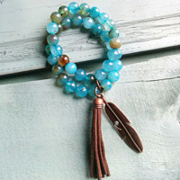 **Light Blue Dragon's Vein Double Strand Beaded Bracelet with Tassel 019gg