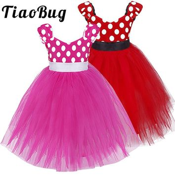 TiaoBug Little Girls Polka Dots Tutu Bridesmaid Dresses V-Neck Princess Birthday Party Prom Dress Kids First Communion Dresses