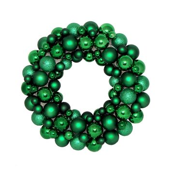 "24"" Xmas Green Shatterproof Christmas Ball Ornament Wreath - Unlit"
