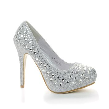 Mango25 By Top Moda, Rhinestone Studded Sparkling Platform Stiletto Heel Pumps