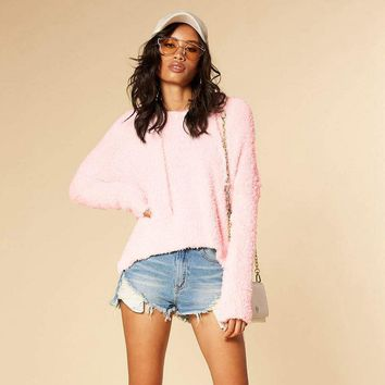Round Neck Solid Plush Pullover