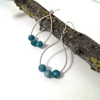 Wire wrapped hoop earrings tear drop with stone beads