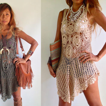Crochet Tunic Dress Boho Dress/ hippie dress Colors Olive Green, Light Tan, Blush, Gold, Brown