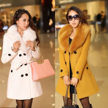 2018 new Winter Womens Double Breasted Big Fur Collar Plus Size Wool Coat Long Winter Jackets Parka Coats Outerwear High Quality