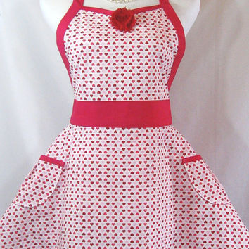 Valentine Sweetheart Apron in Pink, Red & White Glitter Hearts on White with Red Flower, Rouge Red Ties, Two Pockets, Handmade
