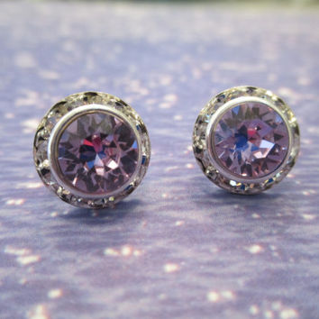 swarovski 8mm crystal violet stud earrings, Emily dazzlers #305