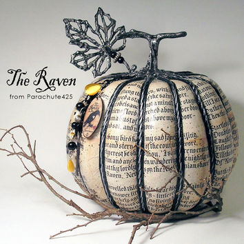 The Raven Pumpkin, Edgar Allan Poe, unique Halloween decor, decoupage pumpkin, recycled materials, macabre Halloween goth decor