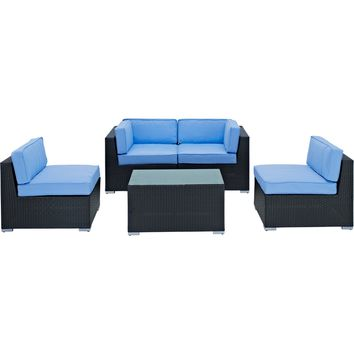 Modern Patio Furniture Camfora 5 Pc Sectional Set Espresso Light Blue Cushions
