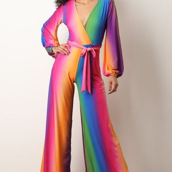 Colorful Long Sleeve Waist Sash Palazzo Jumpsuit